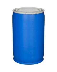 57 Gallon Blue Open Head Plastic Drum, UN Rated, Cover w/Lever Lock Ring Closure