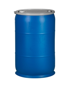"""57 Gallon Blue Plastic Drum, UN Rated, 2"""" & 3/4"""" Fittings"""