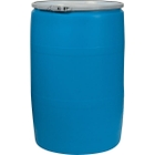 """55 Gallon Blue Open Head Straight Sided Plastic Drum with 2"""" and 3/4"""" Fittings, UN Rated"""