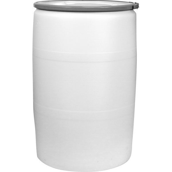55 Gallon Natural Plastic Drum Un Rated Cover W Metal Lever Lock 2 3 4 Ings