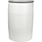 """55 Gallon Natural Plastic Drum, UN Rated, Cover w/Metal Lever Lock, 2"""" & 3/4"""" Fittings"""