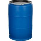 60 Gallon Blue Plastic Drum, Cover w/Lever Lock Ring Closure