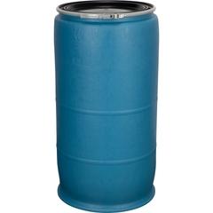 77 Gallon Blue Plastic Drum, Cover w/Lever Lock Ring Closure
