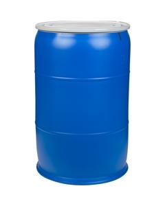 57 Gallon Blue Plastic Drum, UN Rated, Cover w/Bolt Ring