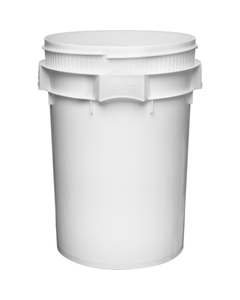 12 Gallon White Plastic Drum, Threaded Opening, Lite Latch, UN Rated