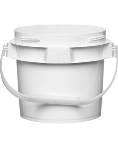 1 Gallon White Plastic Pail w/Plastic Handle, Threaded Opening, Lite Latch, UN Rated