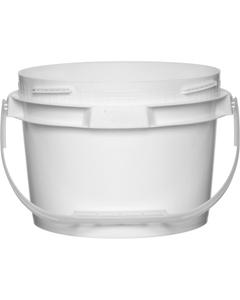 2 Gallon White Plastic Pail w/Plastic Handle, Threaded Opening, Lite Latch