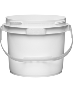 2.5 Gallon White Plastic Pail w/Plastic Handle, Threaded Opening, Lite Latch, UN Rated