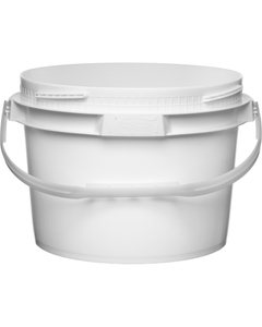 3 Gallon White Plastic Pail w/Plastic Handle, Threaded Opening, Lite Latch, UN Rated