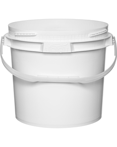 3.5 Gallon White Plastic Pail w/Plastic Handle, Threaded Opening, Lite Latch, UN Rated