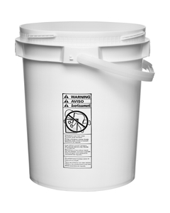 5 Gallon White Plastic Pail w/Plastic Handle, Threaded Opening, Lite Latch, UN Rated