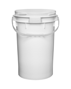 6.5 Gallon White Plastic Pail w/Plastic Handle, Threaded Opening, Lite Latch, UN Rated