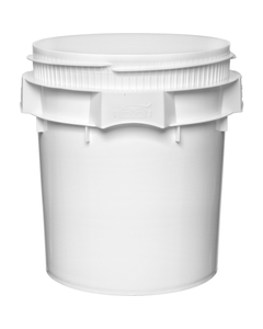 7.7 Gallon White Plastic Pail, Threaded Opening, Lite Latch, UN Rated