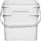 3.5 Gallon White Square Plastic Pail w/Plastic Handle, Life Latch, UN Rated