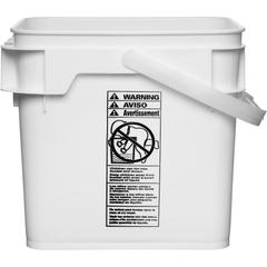 4 Gallon White Square Plastic Pail w/Plastic Handle, Life Latch, UN Rated