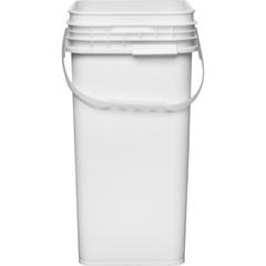6.5 Gallon White Square Plastic Pail w/Plastic Handle, Life Latch, UN Rated