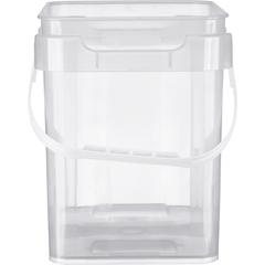 1 Gallon Clarified Square Plastic Pail w/Plastic Handle