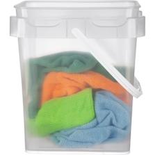 2 Gallon Clarified Square Plastic Pail w/Plastic Handle