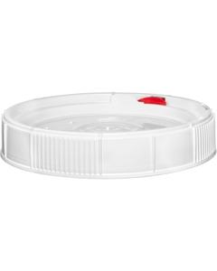 1.25 Gallon White Threaded Plastic Pail Lid w/Latch & Neoprene Gasket, UN Rated