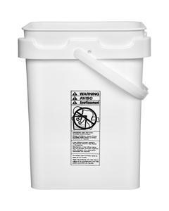 5 Gallon White Square Plastic Pail w/Plastic Handle