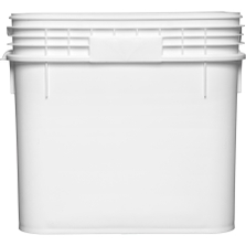 9 Gallon White Square Plastic Pail w/Plastic Handle