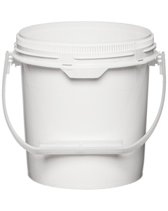 0.6 Gallon White Plastic Pail w/Plastic Handle, Threaded Opening, UN Rated