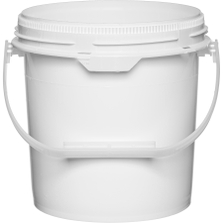 1.25 Gallon White Plastic Pail w/Plastic Handle, Threaded Opening, UN Rated