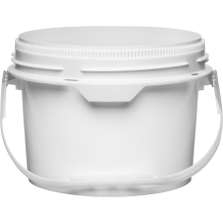 2 Gallon White Plastic Pail w/Plastic Handle, Threaded Opening, Life Latch, UN Rated