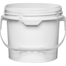 2.5 Gallon White Plastic Pail w/Plastic Handle, Threaded Opening, Life Latch, UN Rated