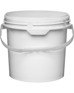 3.5 Gallon White Plastic Pail w/Plastic Handle, Threaded Opening, Life Latch, UN Rated