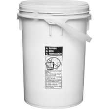 5.9 Gallon White Plastic Pail w/Plastic Handle, Threaded Opening, Life Latch, UN Rated