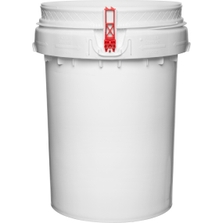 12 Gallon White Plastic Drum, Threaded Opening, Life Latch, UN Rated