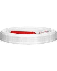 5 Gallon White Threaded Plastic Pail Lid w/Flange Spout, Life Latch, UN Rated