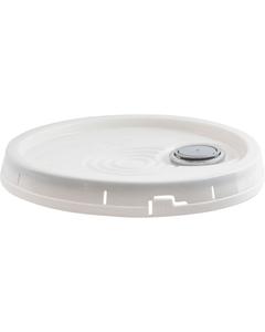 3.5, 5, 6 Gallon White Tear Strip Plastic Pail Lid w/Gasket & Spout