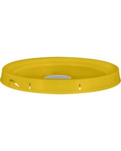 5 Gallon Shell Yellow Tear Strip Plastic Pail Lid w/Gasket & Uni-Grip® Spout (P5 Series)