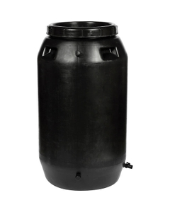 55 Gallon Black Rain Barrel with Spigot and Overflow