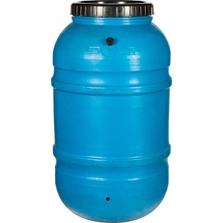 55 Gallon Blue Rain Barrel with Spigot and Overflow