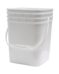4 Gallon White Square Plastic Pail with Plastic Handle, 685 Grams