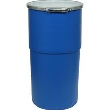 15 Gallon Blue Open Head Taper Sided Plastic Drum, UN Rated