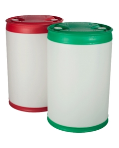 """55 Gallon Tight Head Plastic Drum, Straight Sided, Various Colors, UN Rated, 2"""" NPS & 2"""" Buttress Fittings"""