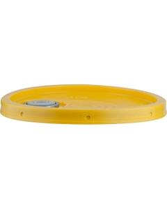 5 Gallon Shell Yellow Plastic Pail Lid w/Gasket & Uni-Grip® Spout