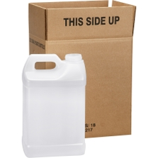 2.5 Gallon Natural HDPE Plastic F-Style Bottle, 63mm 63-485, 2x1 Reshipper, UN Rated