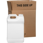 2.5 Gallon White HDPE Plastic F-Style Bottle, 63mm 63-485, 2x1 Reshipper, UN Rated