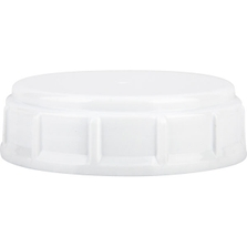 63mm 63-445 White Ribbed Plastic Buttress Cap w/HIS for HDPE