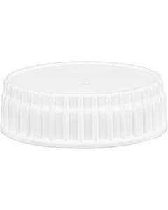 63mm 63-445 Vented White Ribbed Industrial Plastic Cap w/Foam Liner