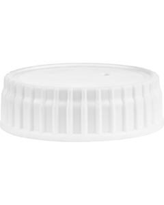 63mm 63-485 White Ribbed (Smooth Top) Vented Plastic Cap w/Dual Liner (Foam & HIS for PE)