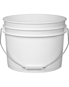 3 Gallon White Plastic Pail with Metal Handle