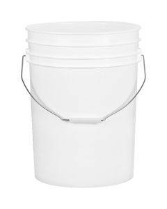 5.5 Gallon White Plastic Pail with Metal Handle