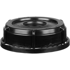 """SC-76RTE - 70mm (6TPI) Tamper Evident Black Plastic Buttress Screw Cap with 3/4"""" Threaded Reducer"""