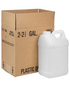 2.5 Gallon Natural HDPE Plastic F-Style Bottle, 63mm 63-445, 340 Grams, 2x1 Reshipper Box